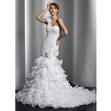 Trompete/Sereia Um ombro Cauda longa Organza de Vestido de noiva com fecho de correr Babados em cascata (002014797)