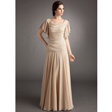 A-Line/Princess Cowl Neck Floor-Length Chiffon Mother of the Bride Dress With Beading Cascading Ruffles (008006185)