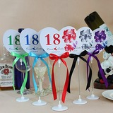 Personalized Heart Shaped Paper Table Number Cards With Holder With Ribbons (Set of 10) (118032233)