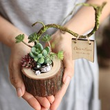 Personalized Rustic Wood Ring Holder With Artifical Plants (103203903)