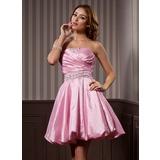 Vestidos princesa/ Formato A Sem Alças Coquetel Tafetá Vestido de boas vindas com Pregueado Bordado (022020964)