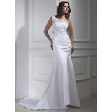 Trumpet/Mermaid One-Shoulder Court Train Satin Wedding Dress With Lace Beading (002015459)