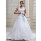 De baile Cabresto Cauda longa Organza de Vestido de noiva com Renda Cintos Pino flor crystal Curvado (002011690)