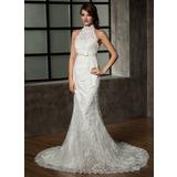 Trompete/Sereia Cabresto Cauda longa Tule Renda Vestido de noiva com Curvado (002011461)