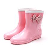 Donna PVC Zeppe Zeppe Stivali Stivali da pioggia con Bowknot scarpe (088146820)