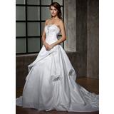 De baile Sem Alças Cauda longa Tafetá Vestido de noiva com Pregueado Renda Bordado (002000472)