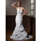 Trompete/Sereia Cabresto Cauda de sereia Tafetá Vestido de noiva com Pregueado Bordado (002001271)