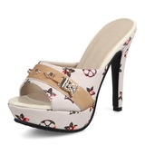 Women's PU Stiletto Heel Sandals Pumps Slippers With Rivet shoes (087155355)