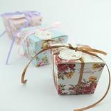 Design floral Cubóide Caixas do Favor com Fitas (conjunto de 12) (050032971)