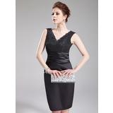 Платье-чехол V-образный Длина до колен Шармёз кружева Коктейльные Платье с Рябь (016008284)