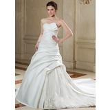 Платье для Балла Волнистый Церковный шлейф Атлас Органза Свадебные Платье с Рябь кружева Бисер (002000588)