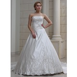 De baile Coração Trem real Cetim Vestido de noiva com Bordados Bordado (002004478)
