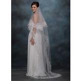 Uma camada Véus de noivas capela com Borda com aplicação de renda (006020338)