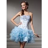 Vestidos princesa/ Formato A Coração Curto/Mini Organza de Vestido de boas vindas com Bordado Babados em cascata (022010491)