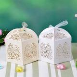 Blumen Silhouette Quader Perlen-Papier Geschenkboxen mit Bänder (Satz von 12) (050032984)
