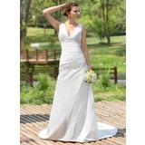 Трапеция/Принцесса V-образный Церемониальный шлейф Тафта Свадебные Платье с Рябь Бисер блестками (002001407)