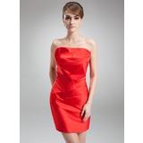 Платье-чехол Волнистый Мини-платье Атлас Коктейльные Платье с Рябь (016008254)