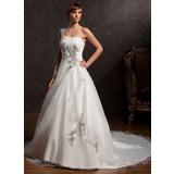 De baile Um ombro Cauda longa Cetim Organza de Vestido de noiva com Pregueado Bordado Apliques de Renda (002015166)
