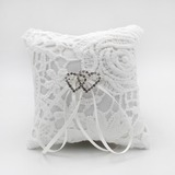 Chic Ring Pillow in Satin With Rhinestones/Loving Hearts (103190798)