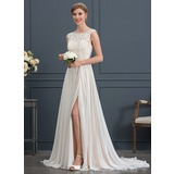 A-Line/Princess Scoop Neck Sweep Train Chiffon Wedding Dress With Split Front (002171929)