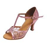 Mulheres Couro Saltos Sandálias Latino Salão de Baile com Correia -T Lantejoulas Sapatos de dança (053013134)