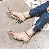 Женщины PVC Высокий тонкий каблук Сандалии На каблуках Закрытый мыс с заклепки пряжка обувь (085209666)