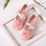 Fille de bout rond Mary Jane Cuir en microfibre talon plat Chaussures plates Chaussures de fille de fleur avec Perle d'imitation Fleur en satin (207150996)