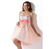 Vestidos princesa/ Formato A Coração Coquetel Tule Vestido de boas vindas com Cintos Bordado Lantejoulas (022013755)
