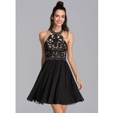 A-Line Halter Short/Mini Chiffon Cocktail Dress With Beading Sequins Pleated (016216058)