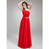 A-Line/Princess One-Shoulder Floor-Length Chiffon Evening Dress With Ruffle Beading (017018785)