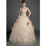 Платье для Балла Без лямок Длина до пола Атлас Органза Свадебные Платье с Рябь кружева Бисер Цветы (002012000)