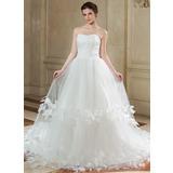 Платье для Балла В виде сердца Церковный шлейф Тюль Свадебные Платье с Рябь Цветы (002000577)