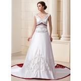 Трапеция/Принцесса V-образный Церковный шлейф Атлас Свадебные Платье с Бисер блестками (002012870)