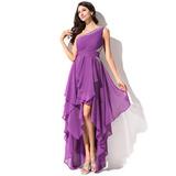 Corte A Um ombro Assimétrico Tecido de seda Vestido de boas vindas (022051523)