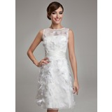 Sheath/Column Scoop Neck Knee-Length Satin Organza Wedding Dress With Feather (002011489)