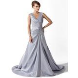 Трапеция/Принцесса V-образный Церемониальный шлейф Тафта Платье Для Матери Невесты с Рябь кружева Бисер (008006123)