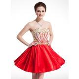 Vestidos princesa/ Formato A Coração Curto/Mini Charmeuse Vestido de boas vindas com Bordado (022020871)