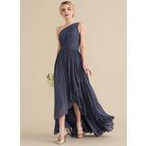 A-Line/Princess One-Shoulder Asymmetrical Chiffon Evening Dress With Cascading Ruffles (017164903)