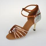 Mulher Cetim Sandálias Bombas Latino Salão de Baile Salsa com Rhinestone Correia de Calcanhar Fivela Sapatos de dança (053026919)