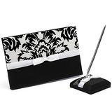 Classic Black & White De proa/Flor Livro de visitas & conjunto de canetas (101018162)
