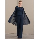 Decote redondo Longos Tecido de seda Renda Vestido para a mãe da noiva com Beading (008152138)