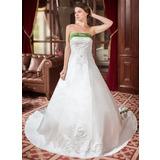 Forme Princesse Sans bretelle Traîne royale Satiné Robe de mariée avec Broderie Ceintures Emperler (002000040)