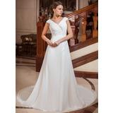 Трапеция/Принцесса V-образный Церковный шлейф шифон Свадебные Платье с Рябь Бисер (002011766)