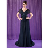 Trumpet/Mermaid V-neck Court Train Chiffon Mother of the Bride Dress With Beading Sequins (008018716)