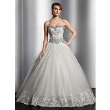 Платье для Балла В виде сердца Длина до пола Тюль Свадебные Платье с кружева Бисер блестками (002014818)