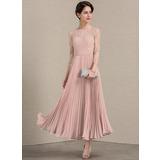 Vestidos princesa/ Formato A Decote redondo Longuete Tecido de seda Renda Vestido para a mãe da noiva com Plissada (008143377)