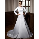 A-Line/Princess Scoop Neck Chapel Train Satin Wedding Dress With Lace Beading (002011703)