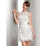 Tubo Decote redondo Curto/Mini Cetim Organza de Vestido de noiva com Pregueado fecho de correr (002014506)
