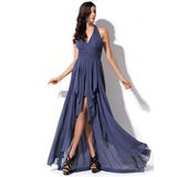 A-Line/Princess Halter Asymmetrical Chiffon Prom Dresses With Bow(s) Cascading Ruffles (018052695)
