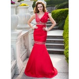 Trumpet/Mermaid V-neck Floor-Length Taffeta Prom Dress With Ruffle Beading (018024660)